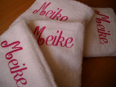 Handdoeken met Meike d'r naam erop