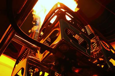 De brander aan het werk